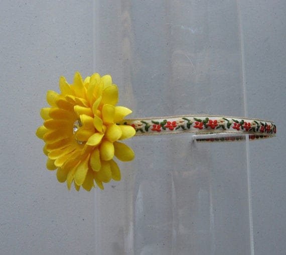 Yellow Crystal Flower Colorful Ribbon Headband, for weddings, parties, fun, special occasions