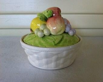 Ceramic Fruit Bowl- Trinket Box-Vintage Elizabeth Arden
