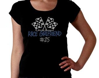 Race Girlfriend Custom RHINESTONE t-shirt tank top sweatshirt S M L XL 2XL - bling racing car bike boat motorcross Sprint Nascar stock Novia
