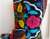 Vintage Turkish Embroidered Boots - Leather & Velvet - Tapestry - UK Size 6 - EUR Size 39