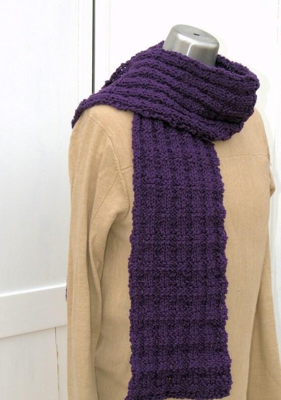 Deep Royal Purple Man Scarf Harris Tweed  Mens Scarf Guys Scarf Hand Knit