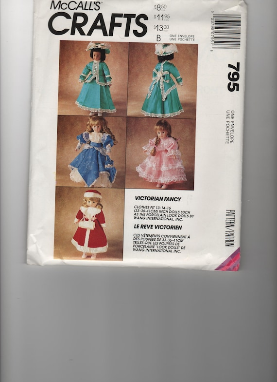 McCall's Craft Doll Dress pattern for 13-14-16 inch dolls