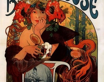 ART NOUVEAU Art Poster Print for the Beers of the Meuse Ad by Alphonse Mucha-- 1898