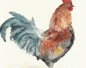 Rustic Barnyard Rooster Art, Fine Art Giclee Print from watercolor painting, brown, blue, orange 8x10