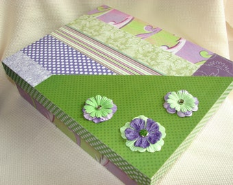Memory or Keepsake Box for Women-Mom, Grandma, Teen, Brides, Bridesmaids, Graduation, Mothers Day, Housewarming- Green, Purples and White.