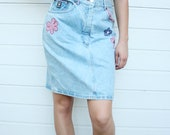Vintage Denim Pencil Skirt With Floral Patches