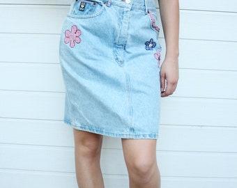 Vintage Denim Pencil Skirt With Floral Patches