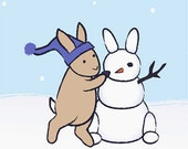 Rabbit Kids Wall Art Print - Snowman Winter Nursery Decor - Bunny Art