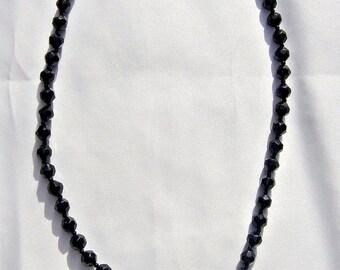 Vintage Black Jet  Glass Necklace Milk Glass Medium Length Multi Faceted Beads Mid Century