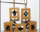 Glamorous golden  squares jewelry set Japanese seed beads and black Swarovski crystals bracelet cuff Right Angle Weave Christmas gift