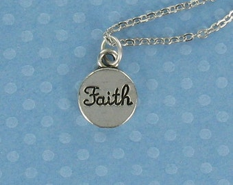 FAITH CIRCLE Necklace - Pewter Charm on a FREE Plated Chain