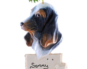 Basset Hound Christmas Ornament - personalized ornament - tri colored basset hound ornament (d117)