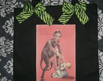 KRAMPUS horror tote bag