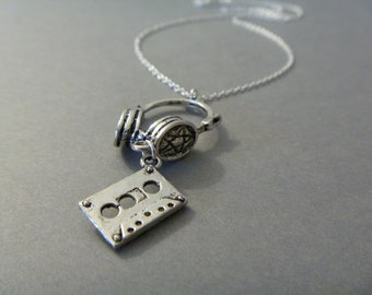 Headset and Casette Tape Charm Necklace