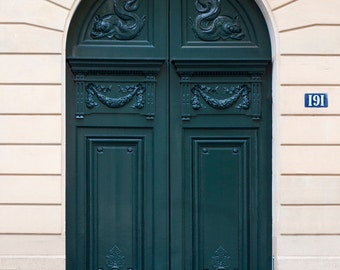 Paris Photo - The Green Door, Architectural Fine Art Photograph, Urban Home Decor, Parisian Wall Art