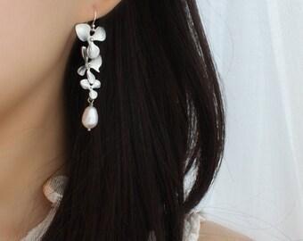 Orchids Pearl Earrings, Bridesmaids Gifts, Wedding Jewelry, Pearl Earrings