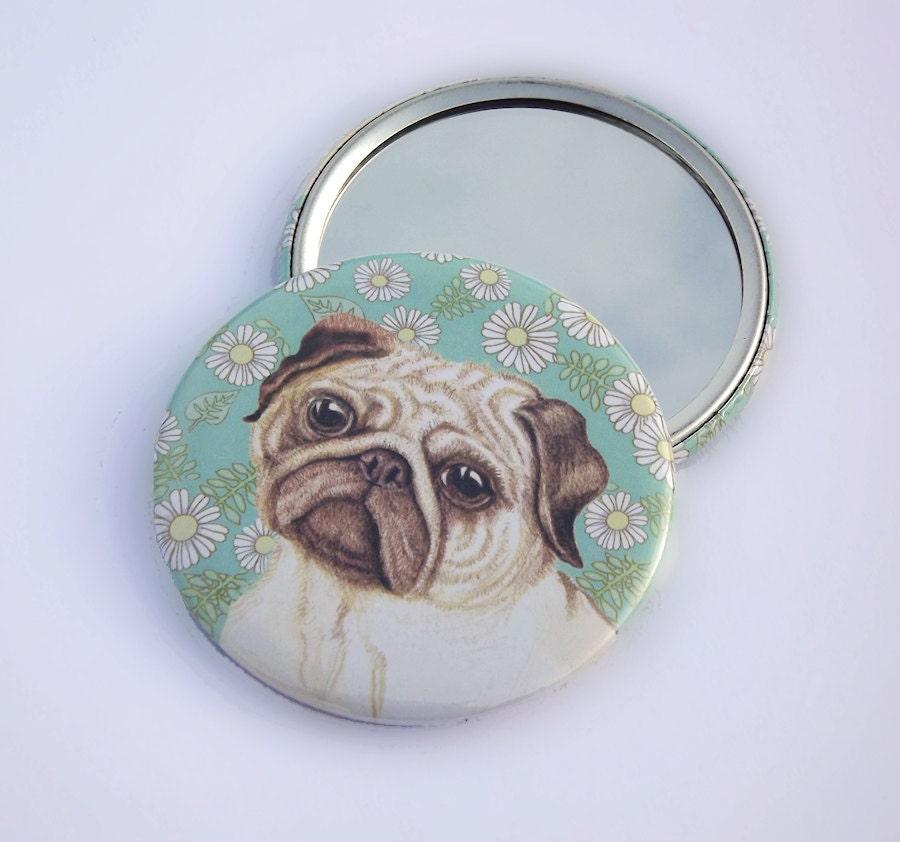 Mops kunst spiegel kleine runde gro e handtasche - Kleine runde spiegel ...