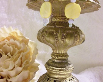 Gorgeous Canary Yellow Mother of Pearl Earrings