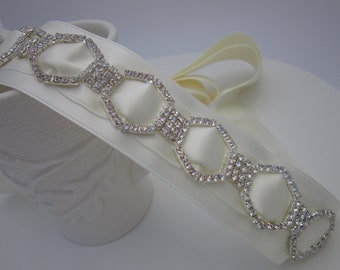 Swarovski Crystal Bridal Sash, Ivory Bridal Sash, Geometric Bridal Belt, Art Deco Rhinestone Sash-GIANNA