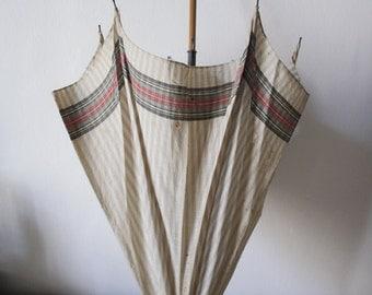 Vintage Italian UMBRELLA. Prairie parasol. Bamboo handle.