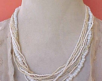 Pretty Vintage Necklace with 3 Shades of Pearly White Glass Bead Strands