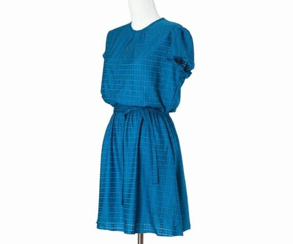 80s Vintage Mini Dress Blue Teal Jewel Tone Medium