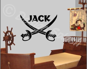 "Kids Room PIRATE SWORDS (Personalized with Name) Large Vinyl Wall Art Decal 30"" x 22"" NK-110"