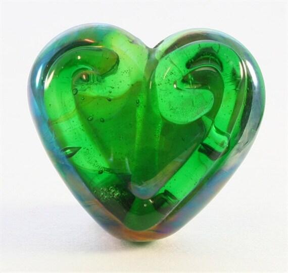 Handmade Lampwork Glass Bead, SRA, Green Heart Focal, DUST Team
