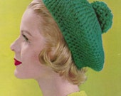 Crochet Womens Beret 1960's Vintage Knitting PDF PATTERN