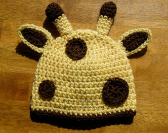 Giraffe Hat Crochet Pattern - Newborn to Adult Sizes Included - US and UK Terms - INSTANT Download
