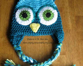 Owl Hat Pattern - us and uk Terms Available - Crochet Pattern 1 - Newborn to Adult Sizes - INSTANT DOWNLOAD