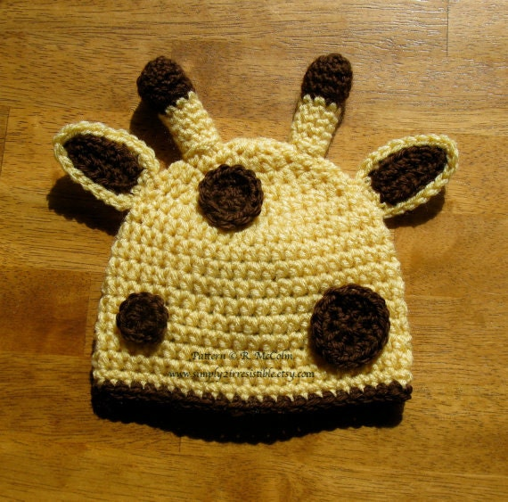 Crochet Hat Pattern Baby Giraffe Beanie Hat : Giraffe Hat Crochet Pattern Newborn to by Simply2Irresistible