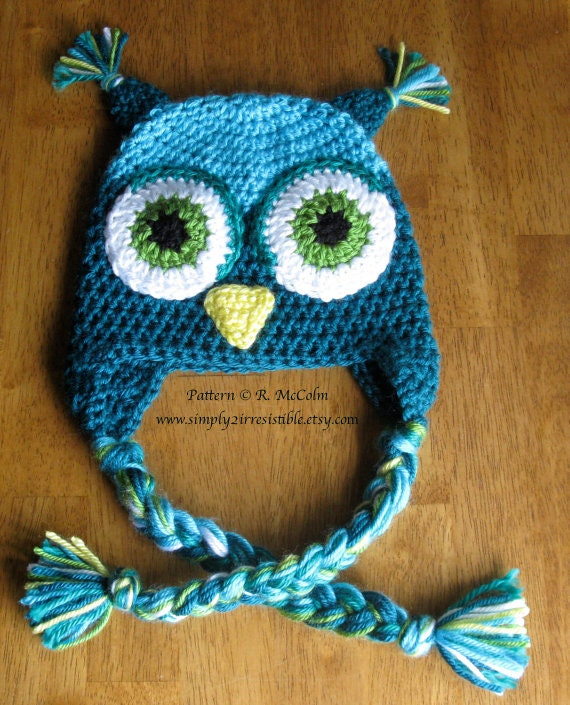 Owl Hat Pattern us and uk Terms Available Crochet Pattern