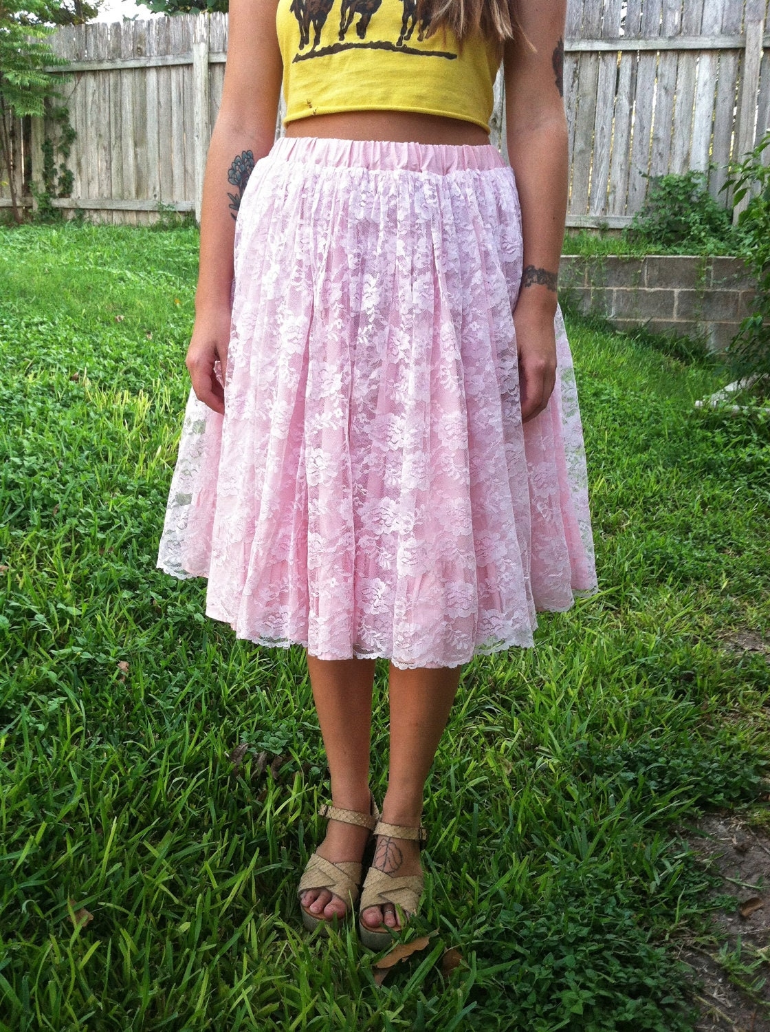 midi length baby pink lace poof skirt cupcake princess