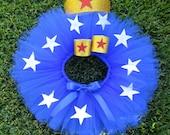 Infant Super Hero Costume. Super Hero Tutu Child Costume Blue tutu with Stars. Red, white, blue and gold tutu set. SEWN TUTU.