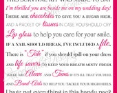 Custom Printable Bridesmaid Survival Kit Card Digital File