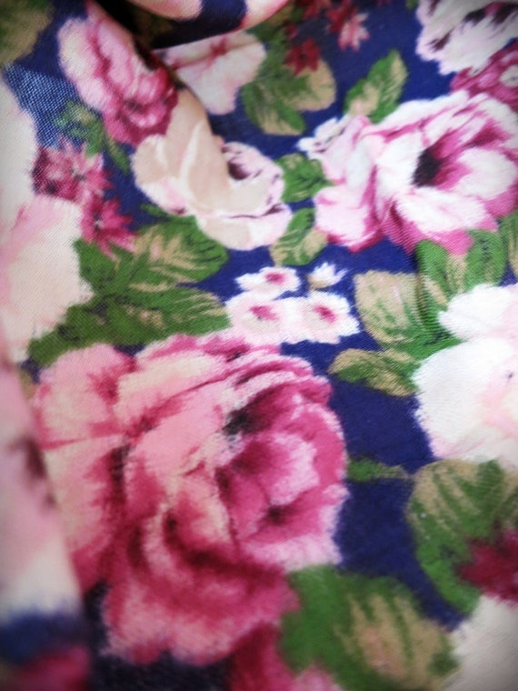 Vintage designer scarf Axcess scarf Wool scarf made in Japan Impressionistic roses Fringed border scarf