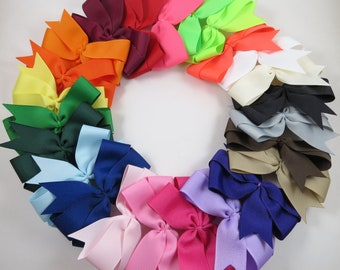 Back to School Bow Set - Pinwheel Hair Bows - Gift - Pink White Black Blue Green Yellow Purple Orange Red Brown Neon - YOU CHOOSE QUANTITY