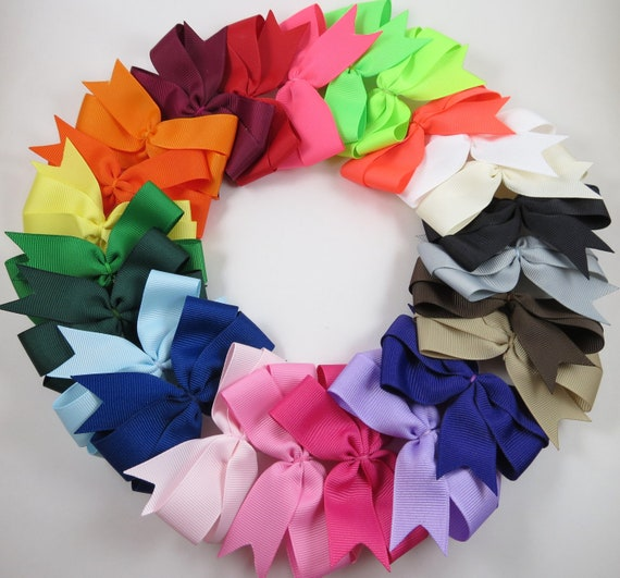 Back To School Hair Bows - Pinwheel Hair Clip - Pink White Black Blue Green Yellow Purple Orange Red Brown Neon Bows - YOU PICK 10 BOWS