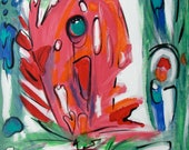 Abstract Acrylic Animal Painting Coral Pink and  Blue Green Fish 16 x 20 by Mary Gaspar