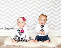 Matching outfits for TWINS, brother sister outfits, twin shirts,  INCLUDES skirt and headband