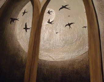 ORIGINAL Canvas Painting- Bird Silhouette Flying Over Moon out Window Art-One of a Kind