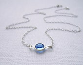 Sapphire Blue Crystal Sterling Silver Necklace - Bridesmaids Set, Gift - Tiny Solitaire, Minimal Pretty Everyday