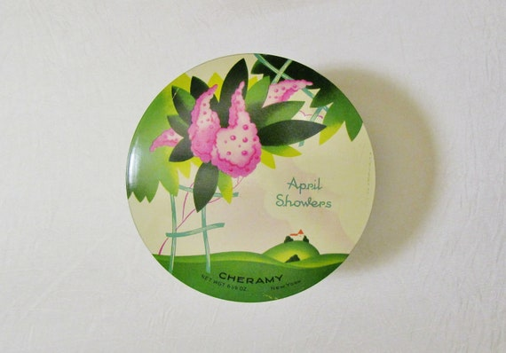 Vintage Art Deco talcum powder tin, 1930's April Showers tin, FULL