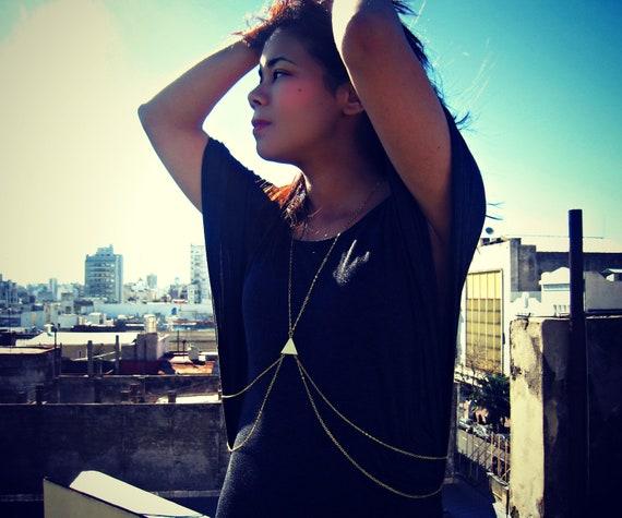 single triangle body chain, triangle necklace, geometric necklace, body harness, body jewelry, chain vest, statement necklace