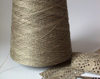 Organic Natural Flax Linen Yarn Thread on cone 2 ply / 3 ply / 4 ply