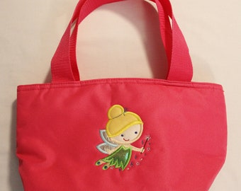 Lunch Bag Personalized Cutie Princess Fairy Applique for Girls Insulated with Zippered Main Compartment and One Side Pocket