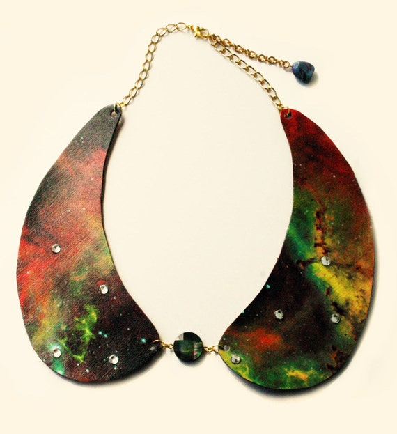 Stardust - Galaxy Faux Leather Peter Pan Collar Necklace with Swarovski and Stones