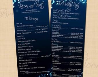 Midnight Blue Night Sky Long Wedding Programs (4.25x11): Text-Editable, Printable, Instant Download