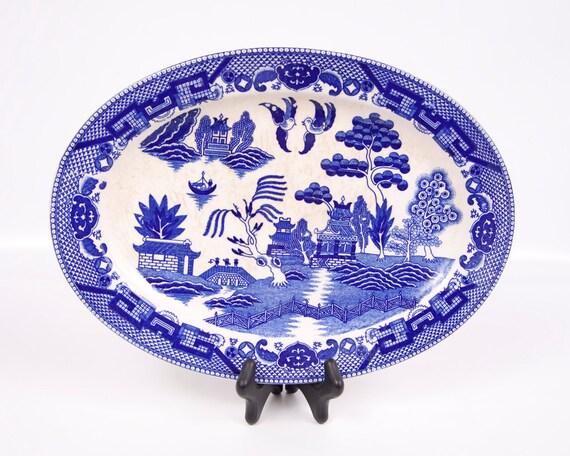 Vintage Blue Willow Oval Platter Dark Cobalt Blue Black Mark Made in Japan